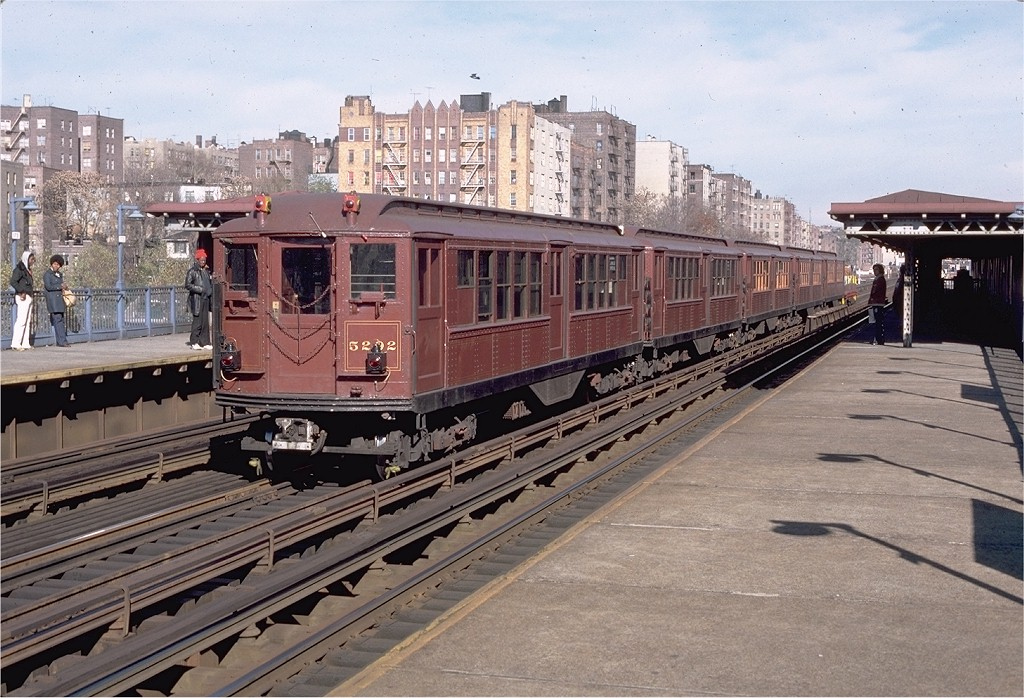 (236k, 1024x698)<br><b>Country:</b> United States<br><b>City:</b> New York<br><b>System:</b> New York City Transit<br><b>Line:</b> IRT Woodlawn Line<br><b>Location:</b> Mt. Eden Avenue <br><b>Route:</b> Fan Trip<br><b>Car:</b> Low-V (Museum Train) 5292 <br><b>Photo by:</b> Aron Eisenpress<br><b>Collection of:</b> Joe Testagrose<br><b>Date:</b> 11/17/1979<br><b>Viewed (this week/total):</b> 1 / 3567