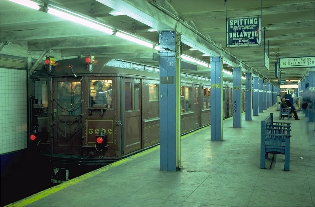 (196k, 1024x675)<br><b>Country:</b> United States<br><b>City:</b> New York<br><b>System:</b> New York City Transit<br><b>Line:</b> IRT Brooklyn Line<br><b>Location:</b> Utica Avenue <br><b>Route:</b> Fan Trip<br><b>Car:</b> Low-V (Museum Train) 5292 <br><b>Photo by:</b> Joe Testagrose<br><b>Date:</b> 11/3/1979<br><b>Viewed (this week/total):</b> 0 / 6323