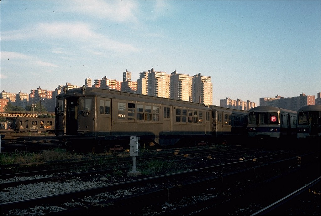 (187k, 1024x690)<br><b>Country:</b> United States<br><b>City:</b> New York<br><b>System:</b> New York City Transit<br><b>Location:</b> Coney Island Yard-Museum Yard<br><b>Car:</b> Low-V (Museum Train) 5443 <br><b>Photo by:</b> Steve Zabel<br><b>Collection of:</b> Joe Testagrose<br><b>Date:</b> 9/13/1976<br><b>Viewed (this week/total):</b> 2 / 2629