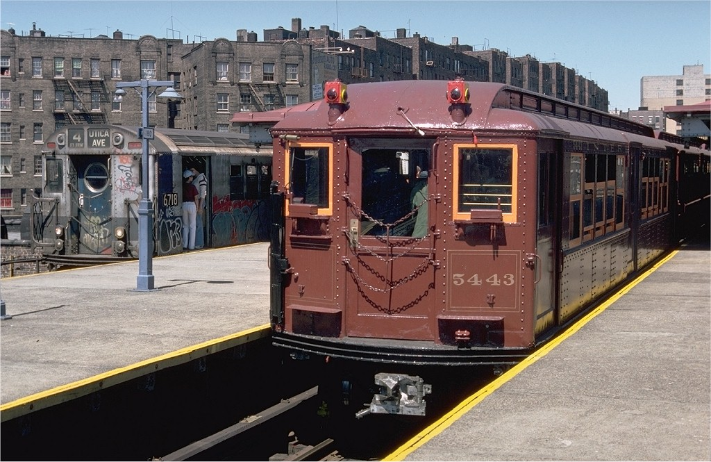 (224k, 1024x665)<br><b>Country:</b> United States<br><b>City:</b> New York<br><b>System:</b> New York City Transit<br><b>Line:</b> IRT Woodlawn Line<br><b>Location:</b> Burnside Avenue <br><b>Route:</b> Fan Trip<br><b>Car:</b> Low-V (Museum Train) 5443 <br><b>Photo by:</b> Doug Grotjahn<br><b>Collection of:</b> Joe Testagrose<br><b>Date:</b> 5/5/1979<br><b>Viewed (this week/total):</b> 0 / 2484