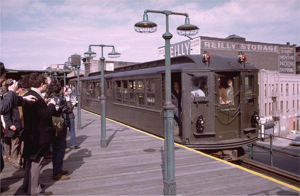 (214k, 1024x670)<br><b>Country:</b> United States<br><b>City:</b> New York<br><b>System:</b> New York City Transit<br><b>Line:</b> 3rd Avenue El<br><b>Location:</b> 149th Street <br><b>Route:</b> Fan Trip<br><b>Car:</b> Low-V (Museum Train) 5443 <br><b>Photo by:</b> Doug Grotjahn<br><b>Collection of:</b> Joe Testagrose<br><b>Date:</b> 4/29/1973<br><b>Notes:</b> Fantrip held day after closure of 3rd Avenue El<br><b>Viewed (this week/total):</b> 0 / 3699