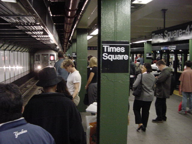 (60k, 640x480)<br><b>Country:</b> United States<br><b>City:</b> New York<br><b>System:</b> New York City Transit<br><b>Line:</b> IRT West Side Line<br><b>Location:</b> Times Square/42nd Street <br><b>Photo by:</b> Salaam Allah<br><b>Date:</b> 9/28/2002<br><b>Viewed (this week/total):</b> 4 / 5210