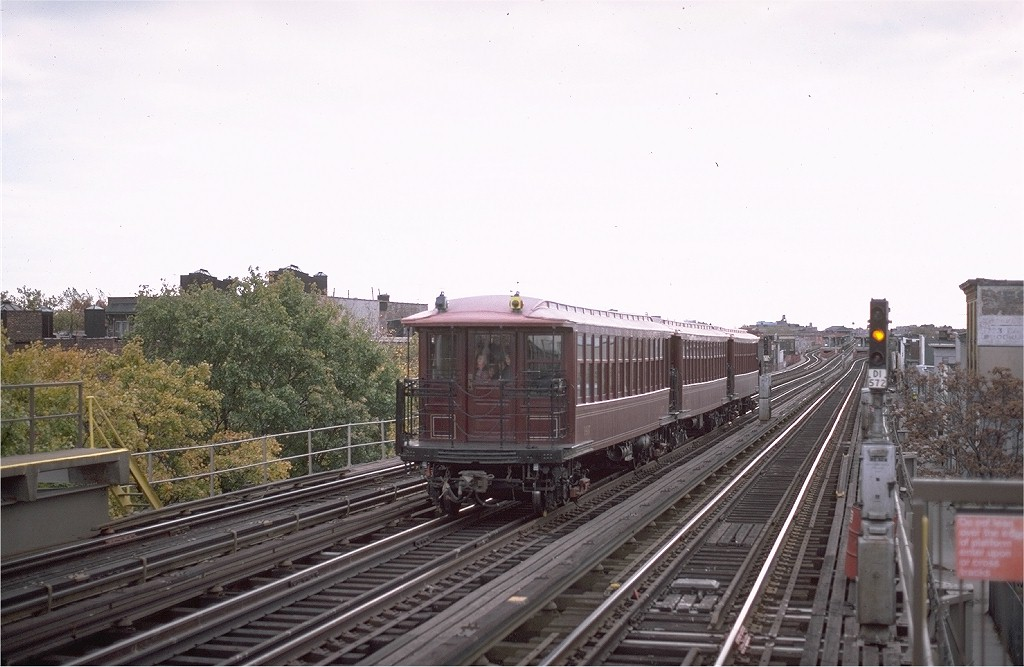 (168k, 1024x667)<br><b>Country:</b> United States<br><b>City:</b> New York<br><b>System:</b> New York City Transit<br><b>Line:</b> BMT West End Line<br><b>Location:</b> 55th Street <br><b>Route:</b> Fan Trip<br><b>Car:</b> BMT Elevated Gate Car 1407-1273-1404 <br><b>Photo by:</b> Steve Zabel<br><b>Collection of:</b> Joe Testagrose<br><b>Date:</b> 11/1/1980<br><b>Viewed (this week/total):</b> 0 / 2941