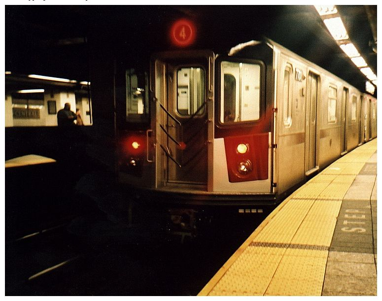 (77k, 775x611)<br><b>Country:</b> United States<br><b>City:</b> New York<br><b>System:</b> New York City Transit<br><b>Line:</b> IRT East Side Line<br><b>Location:</b> Grand Central <br><b>Route:</b> 4<br><b>Car:</b> R-142A (Option Order, Kawasaki, 2002-2003)  7701 <br><b>Photo by:</b> Gary Chatterton<br><b>Date:</b> 10/2002<br><b>Viewed (this week/total):</b> 0 / 5306