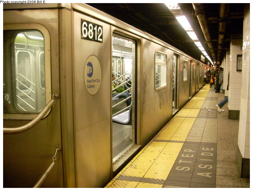 (183k, 819x619)<br><b>Country:</b> United States<br><b>City:</b> New York<br><b>System:</b> New York City Transit<br><b>Line:</b> IRT East Side Line<br><b>Location:</b> Grand Central <br><b>Route:</b> 5<br><b>Car:</b> R-142 (Primary Order, Bombardier, 1999-2002)  6812 <br><b>Photo by:</b> Bill E.<br><b>Date:</b> 2/3/2008<br><b>Viewed (this week/total):</b> 1 / 2449