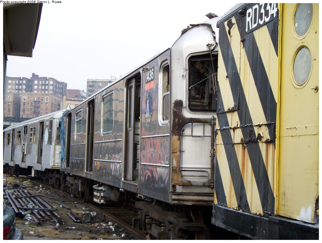 (221k, 1044x788)<br><b>Country:</b> United States<br><b>City:</b> New York<br><b>System:</b> New York City Transit<br><b>Location:</b> 207th Street Yard<br><b>Car:</b> R-62 (Kawasaki, 1983-1985)  1436 <br><b>Photo by:</b> Glenn L. Rowe<br><b>Date:</b> 2/6/2008<br><b>Viewed (this week/total):</b> 7 / 2192