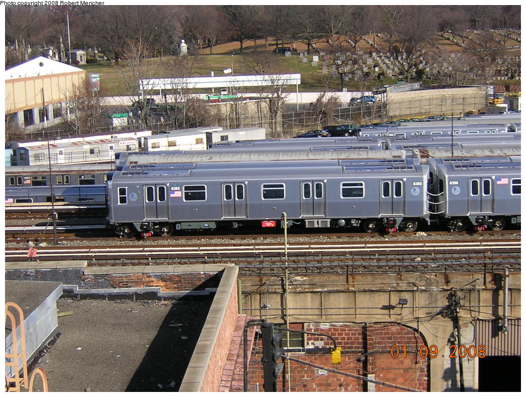 (352k, 1044x788)<br><b>Country:</b> United States<br><b>City:</b> New York<br><b>System:</b> New York City Transit<br><b>Location:</b> East New York Yard/Shops<br><b>Car:</b> R-160A-1 (Alstom, 2005-2008, 4 car sets)  8395 <br><b>Photo by:</b> Robert Mencher<br><b>Date:</b> 1/9/2008<br><b>Viewed (this week/total):</b> 1 / 1317