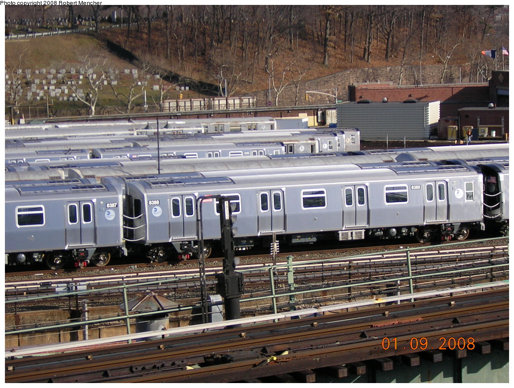 (320k, 1044x788)<br><b>Country:</b> United States<br><b>City:</b> New York<br><b>System:</b> New York City Transit<br><b>Location:</b> East New York Yard/Shops<br><b>Car:</b> R-160A-1 (Alstom, 2005-2008, 4 car sets)  8388 <br><b>Photo by:</b> Robert Mencher<br><b>Date:</b> 1/9/2008<br><b>Viewed (this week/total):</b> 2 / 1203