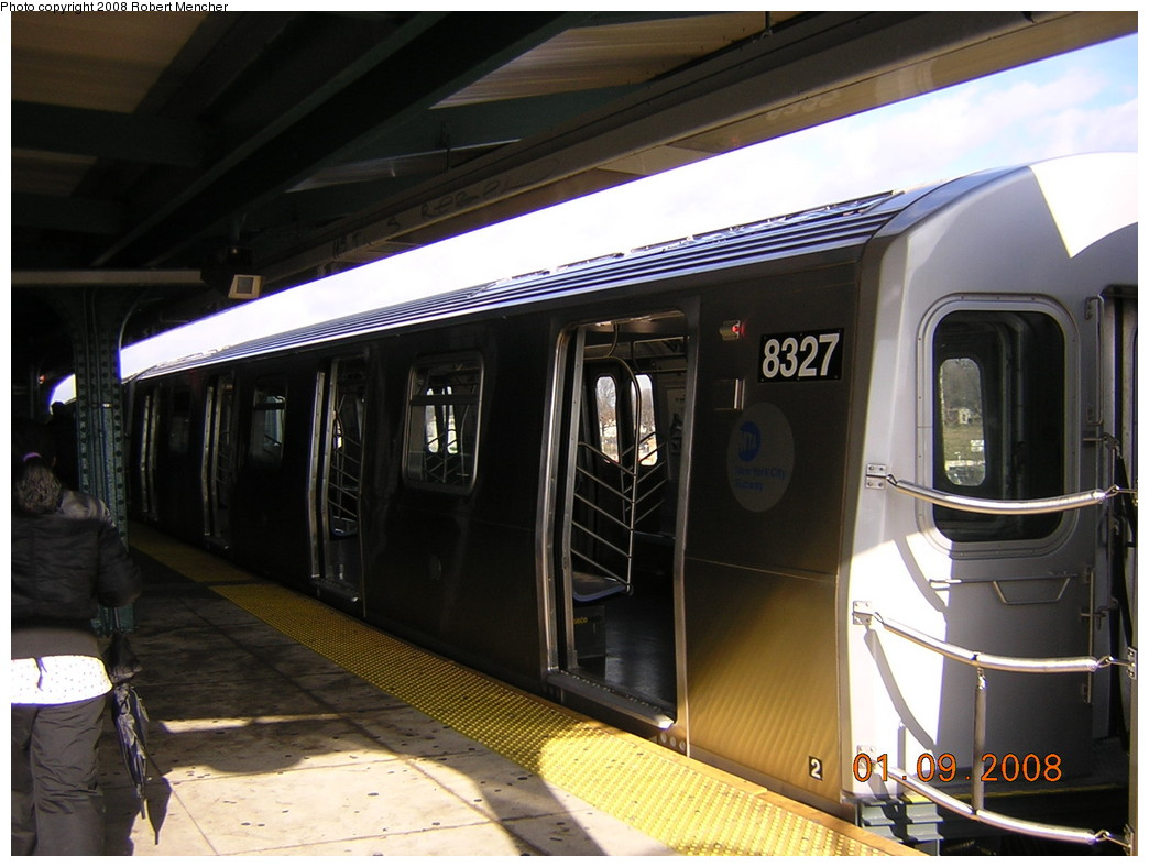 (225k, 1044x788)<br><b>Country:</b> United States<br><b>City:</b> New York<br><b>System:</b> New York City Transit<br><b>Line:</b> BMT Canarsie Line<br><b>Location:</b> Broadway Junction <br><b>Route:</b> L<br><b>Car:</b> R-160A-1 (Alstom, 2005-2008, 4 car sets)  8327 <br><b>Photo by:</b> Robert Mencher<br><b>Date:</b> 1/9/2008<br><b>Viewed (this week/total):</b> 1 / 1793