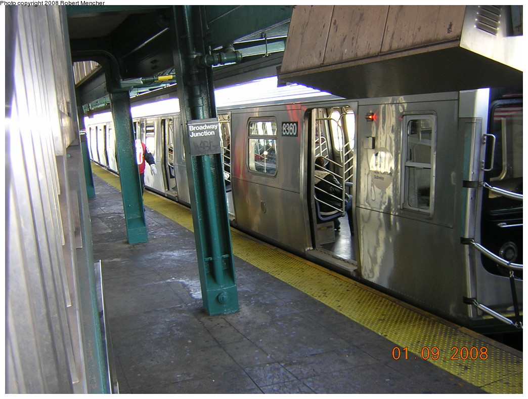 (253k, 1044x788)<br><b>Country:</b> United States<br><b>City:</b> New York<br><b>System:</b> New York City Transit<br><b>Line:</b> BMT Canarsie Line<br><b>Location:</b> Broadway Junction <br><b>Route:</b> L<br><b>Car:</b> R-160A-1 (Alstom, 2005-2008, 4 car sets)  8360 <br><b>Photo by:</b> Robert Mencher<br><b>Date:</b> 1/9/2008<br><b>Viewed (this week/total):</b> 0 / 2141