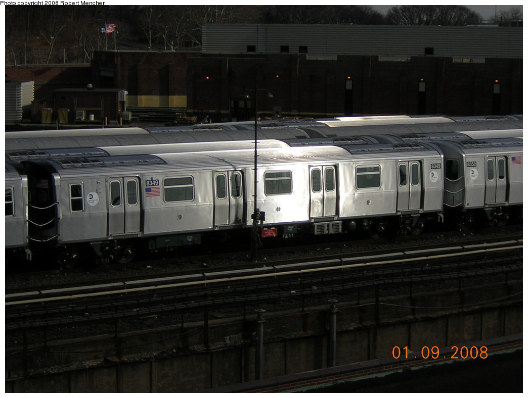 (207k, 1044x788)<br><b>Country:</b> United States<br><b>City:</b> New York<br><b>System:</b> New York City Transit<br><b>Location:</b> East New York Yard/Shops<br><b>Car:</b> R-160A-1 (Alstom, 2005-2008, 4 car sets)  8349 <br><b>Photo by:</b> Robert Mencher<br><b>Date:</b> 1/9/2008<br><b>Viewed (this week/total):</b> 2 / 1010