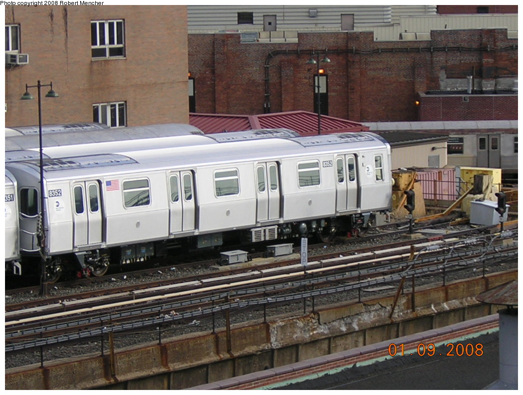 (263k, 1044x788)<br><b>Country:</b> United States<br><b>City:</b> New York<br><b>System:</b> New York City Transit<br><b>Location:</b> East New York Yard/Shops<br><b>Car:</b> R-160A-1 (Alstom, 2005-2008, 4 car sets)  8352 <br><b>Photo by:</b> Robert Mencher<br><b>Date:</b> 1/9/2008<br><b>Viewed (this week/total):</b> 0 / 1480