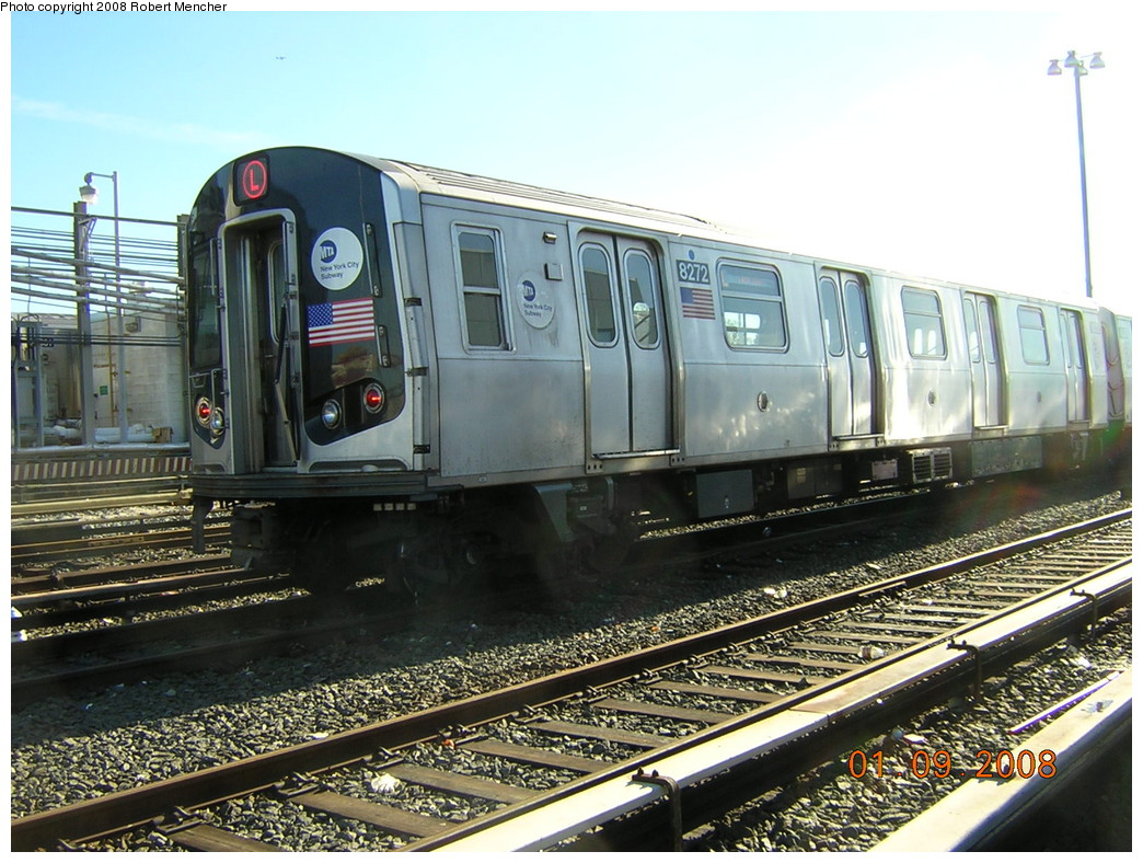 (280k, 1044x788)<br><b>Country:</b> United States<br><b>City:</b> New York<br><b>System:</b> New York City Transit<br><b>Location:</b> Rockaway Parkway (Canarsie) Yard<br><b>Car:</b> R-143 (Kawasaki, 2001-2002) 8272 <br><b>Photo by:</b> Robert Mencher<br><b>Date:</b> 1/9/2008<br><b>Viewed (this week/total):</b> 2 / 1358