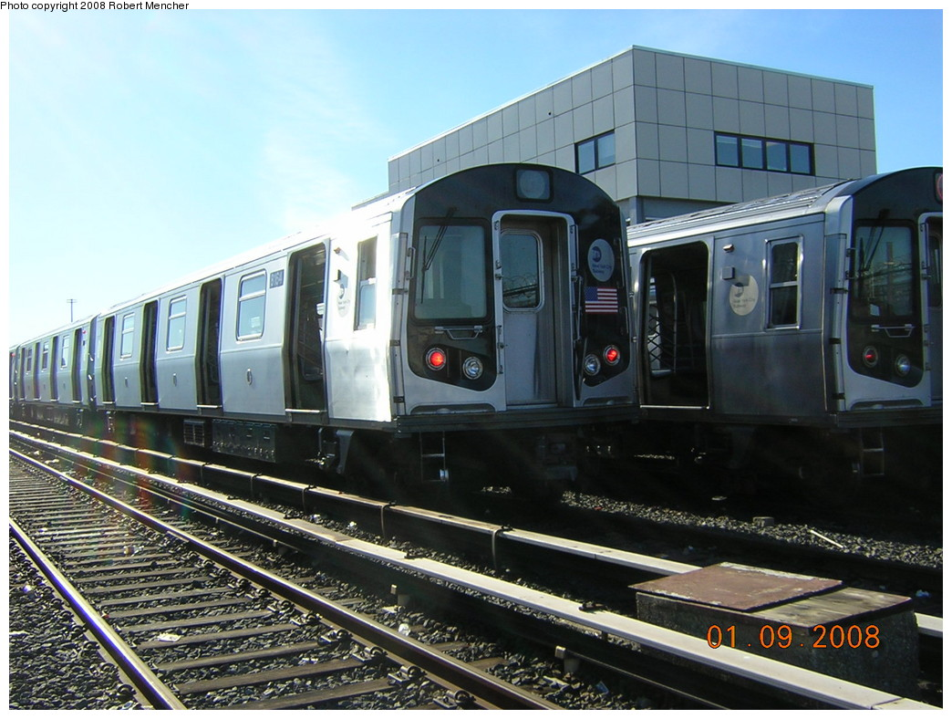 (257k, 1044x788)<br><b>Country:</b> United States<br><b>City:</b> New York<br><b>System:</b> New York City Transit<br><b>Location:</b> Rockaway Parkway (Canarsie) Yard<br><b>Car:</b> R-143 (Kawasaki, 2001-2002) 8164 <br><b>Photo by:</b> Robert Mencher<br><b>Date:</b> 1/9/2008<br><b>Viewed (this week/total):</b> 1 / 2348