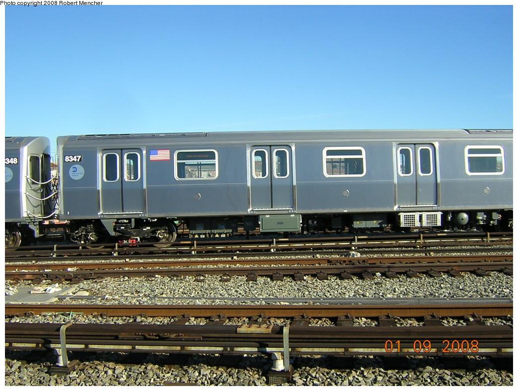 (281k, 1044x788)<br><b>Country:</b> United States<br><b>City:</b> New York<br><b>System:</b> New York City Transit<br><b>Location:</b> Rockaway Parkway (Canarsie) Yard<br><b>Car:</b> R-160A-1 (Alstom, 2005-2008, 4 car sets)  8347 <br><b>Photo by:</b> Robert Mencher<br><b>Date:</b> 1/9/2008<br><b>Viewed (this week/total):</b> 0 / 1870