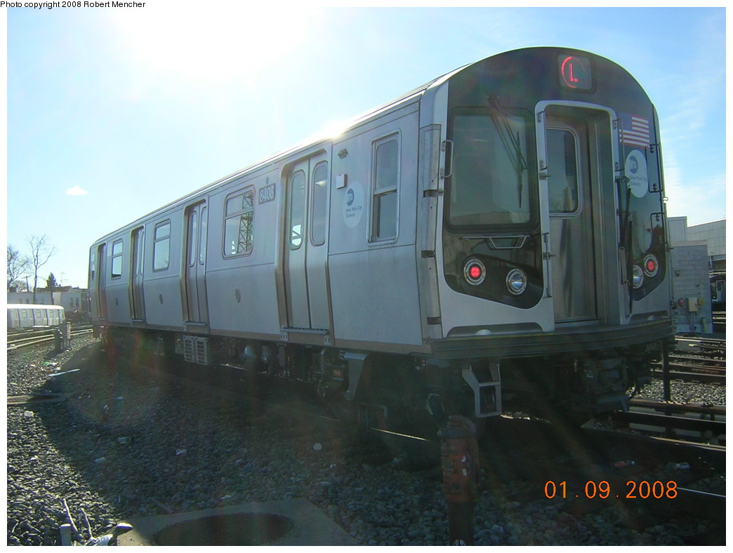 (209k, 1044x788)<br><b>Country:</b> United States<br><b>City:</b> New York<br><b>System:</b> New York City Transit<br><b>Location:</b> Rockaway Parkway (Canarsie) Yard<br><b>Car:</b> R-160A-1 (Alstom, 2005-2008, 4 car sets)  8408 <br><b>Photo by:</b> Robert Mencher<br><b>Date:</b> 1/9/2008<br><b>Viewed (this week/total):</b> 2 / 2224