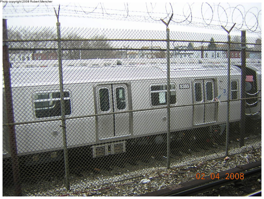 (425k, 1044x788)<br><b>Country:</b> United States<br><b>City:</b> New York<br><b>System:</b> New York City Transit<br><b>Location:</b> Rockaway Parkway (Canarsie) Yard<br><b>Car:</b> R-160A-1 (Alstom, 2005-2008, 4 car sets)  8388 <br><b>Photo by:</b> Robert Mencher<br><b>Date:</b> 2/4/2008<br><b>Viewed (this week/total):</b> 1 / 1653