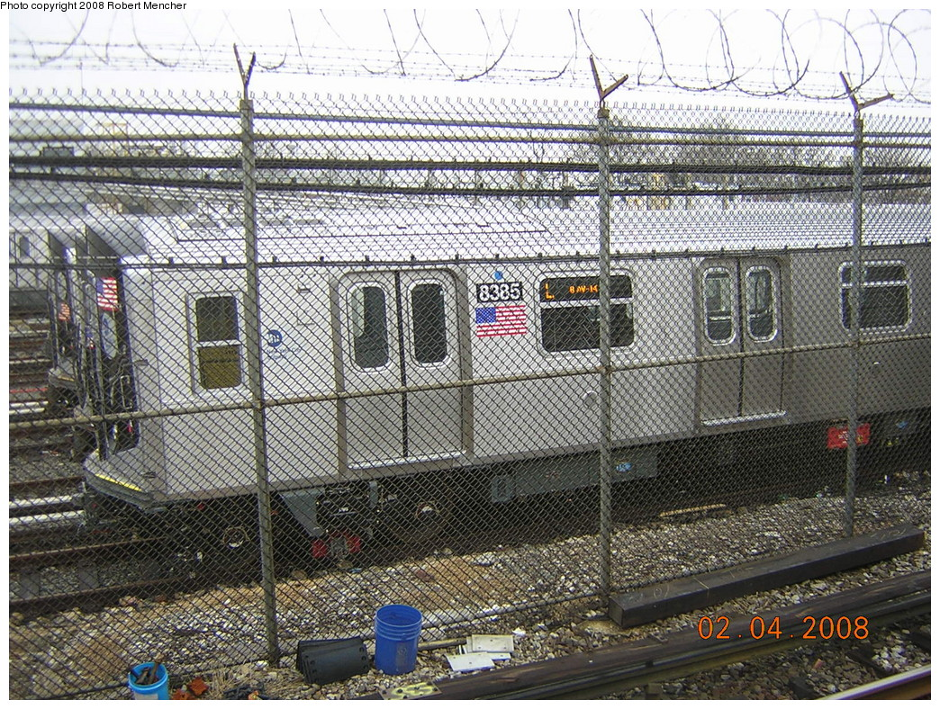 (426k, 1044x788)<br><b>Country:</b> United States<br><b>City:</b> New York<br><b>System:</b> New York City Transit<br><b>Location:</b> Rockaway Parkway (Canarsie) Yard<br><b>Car:</b> R-160A-1 (Alstom, 2005-2008, 4 car sets)  8385 <br><b>Photo by:</b> Robert Mencher<br><b>Date:</b> 2/4/2008<br><b>Viewed (this week/total):</b> 3 / 1974