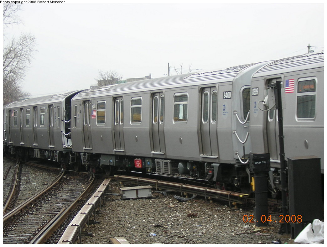 (237k, 1044x788)<br><b>Country:</b> United States<br><b>City:</b> New York<br><b>System:</b> New York City Transit<br><b>Line:</b> BMT Canarsie Line<br><b>Location:</b> Rockaway Parkway <br><b>Route:</b> L<br><b>Car:</b> R-160A-1 (Alstom, 2005-2008, 4 car sets)  8400 <br><b>Photo by:</b> Robert Mencher<br><b>Date:</b> 2/4/2008<br><b>Viewed (this week/total):</b> 1 / 1606