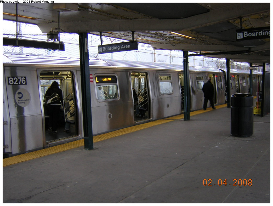(227k, 1044x788)<br><b>Country:</b> United States<br><b>City:</b> New York<br><b>System:</b> New York City Transit<br><b>Line:</b> BMT Canarsie Line<br><b>Location:</b> Rockaway Parkway <br><b>Route:</b> L<br><b>Car:</b> R-143 (Kawasaki, 2001-2002) 8276 <br><b>Photo by:</b> Robert Mencher<br><b>Date:</b> 2/4/2008<br><b>Viewed (this week/total):</b> 2 / 2283