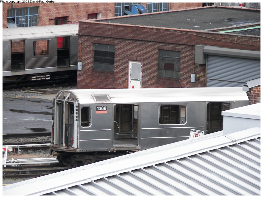 (275k, 1044x788)<br><b>Country:</b> United States<br><b>City:</b> New York<br><b>System:</b> New York City Transit<br><b>Location:</b> 207th Street Yard<br><b>Car:</b> R-62 (Kawasaki, 1983-1985)  1368 <br><b>Photo by:</b> David-Paul Gerber<br><b>Date:</b> 2/18/2008<br><b>Viewed (this week/total):</b> 3 / 2647