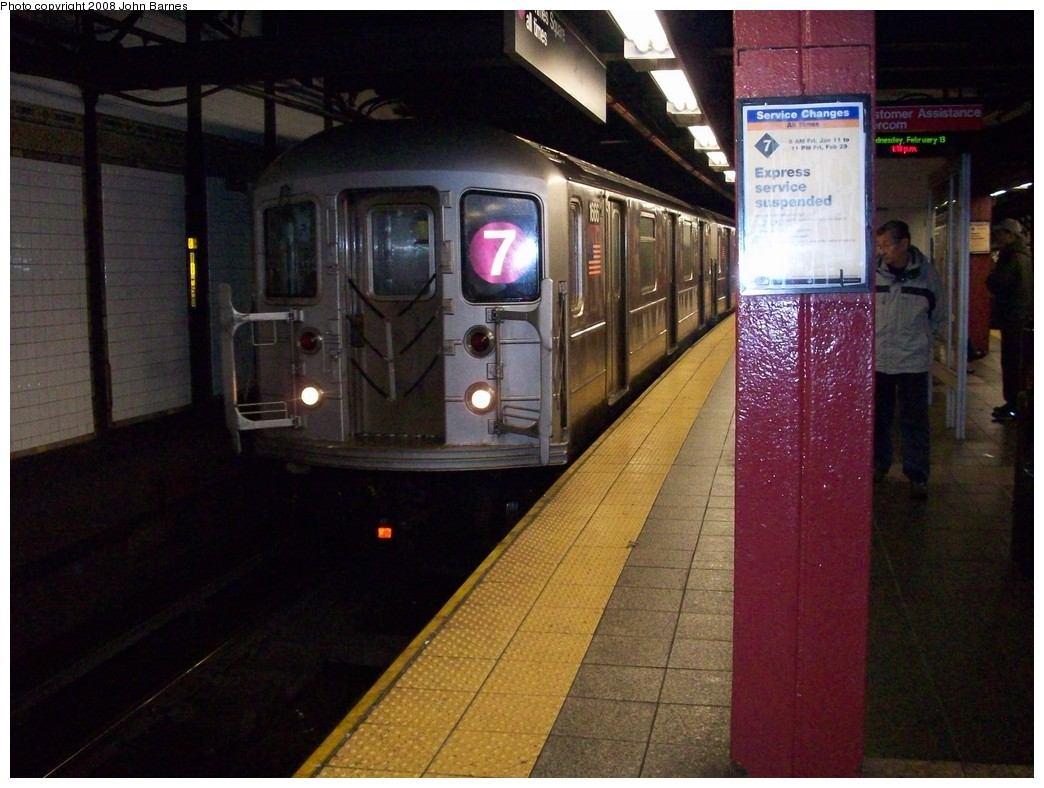 (208k, 1044x788)<br><b>Country:</b> United States<br><b>City:</b> New York<br><b>System:</b> New York City Transit<br><b>Line:</b> IRT Flushing Line<br><b>Location:</b> 5th Avenue <br><b>Route:</b> 7<br><b>Car:</b> R-62A (Bombardier, 1984-1987)  1666 <br><b>Photo by:</b> John Barnes<br><b>Date:</b> 2/13/2008<br><b>Viewed (this week/total):</b> 0 / 1409