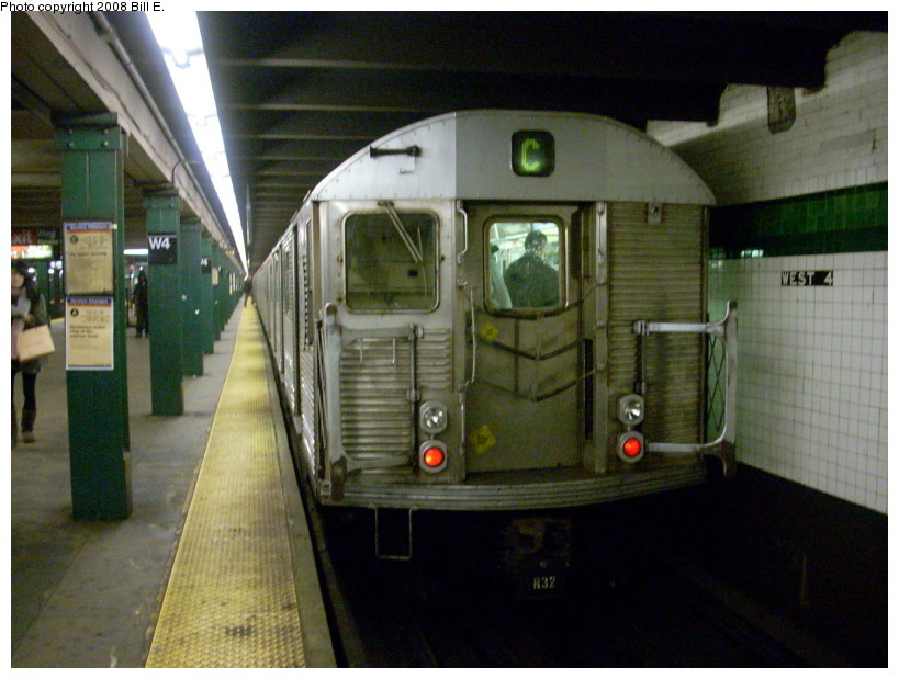 (166k, 819x619)<br><b>Country:</b> United States<br><b>City:</b> New York<br><b>System:</b> New York City Transit<br><b>Line:</b> IND 8th Avenue Line<br><b>Location:</b> West 4th Street/Washington Square <br><b>Route:</b> C<br><b>Car:</b> R-32 (Budd, 1964)   <br><b>Photo by:</b> Bill E.<br><b>Date:</b> 2/19/2008<br><b>Viewed (this week/total):</b> 2 / 1723