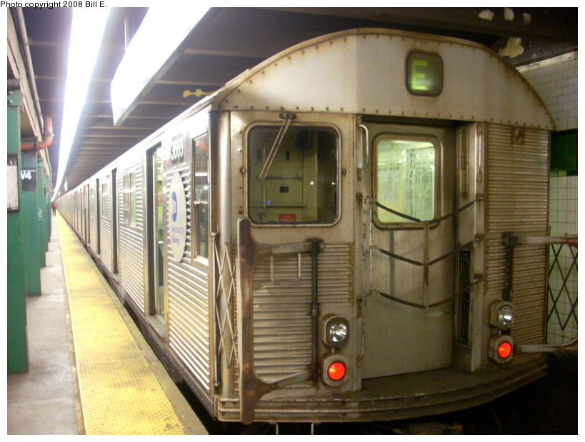 (163k, 819x619)<br><b>Country:</b> United States<br><b>City:</b> New York<br><b>System:</b> New York City Transit<br><b>Line:</b> IND 8th Avenue Line<br><b>Location:</b> West 4th Street/Washington Square <br><b>Route:</b> E<br><b>Car:</b> R-32 (Budd, 1964)  3665 <br><b>Photo by:</b> Bill E.<br><b>Date:</b> 2/10/2008<br><b>Viewed (this week/total):</b> 4 / 1238