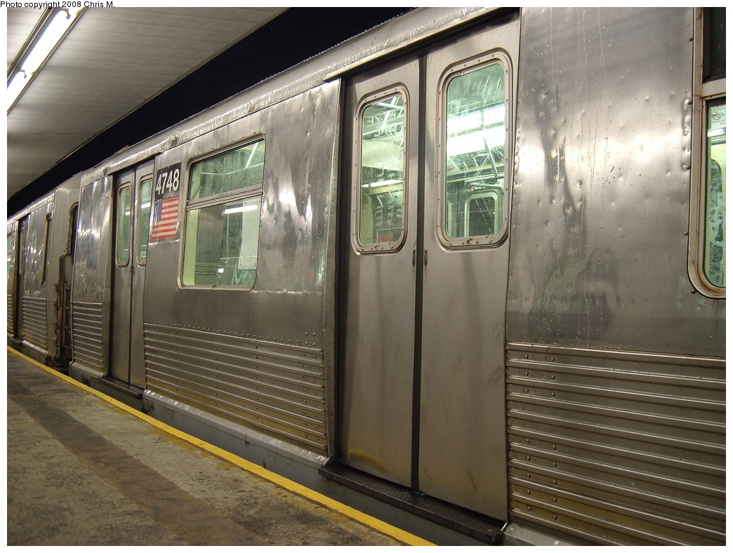 (242k, 1044x788)<br><b>Country:</b> United States<br><b>City:</b> New York<br><b>System:</b> New York City Transit<br><b>Line:</b> BMT Myrtle Avenue Line<br><b>Location:</b> Metropolitan Avenue <br><b>Route:</b> J Reroute.<br><b>Car:</b> R-42 (St. Louis, 1969-1970)  4748 <br><b>Photo by:</b> Chris M.<br><b>Date:</b> 2/17/2008<br><b>Notes:</b> Note side panel replacement, top two corrugations missing.<br><b>Viewed (this week/total):</b> 0 / 1903