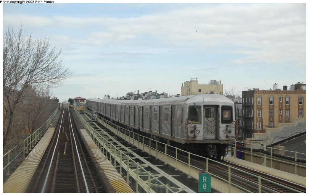 (154k, 1044x663)<br><b>Country:</b> United States<br><b>City:</b> New York<br><b>System:</b> New York City Transit<br><b>Line:</b> BMT Myrtle Avenue Line<br><b>Location:</b> Seneca Avenue <br><b>Route:</b> J reroute.<br><b>Car:</b> R-42 (St. Louis, 1969-1970)  4596 <br><b>Photo by:</b> Richard Panse<br><b>Date:</b> 2/17/2008<br><b>Viewed (this week/total):</b> 3 / 1019