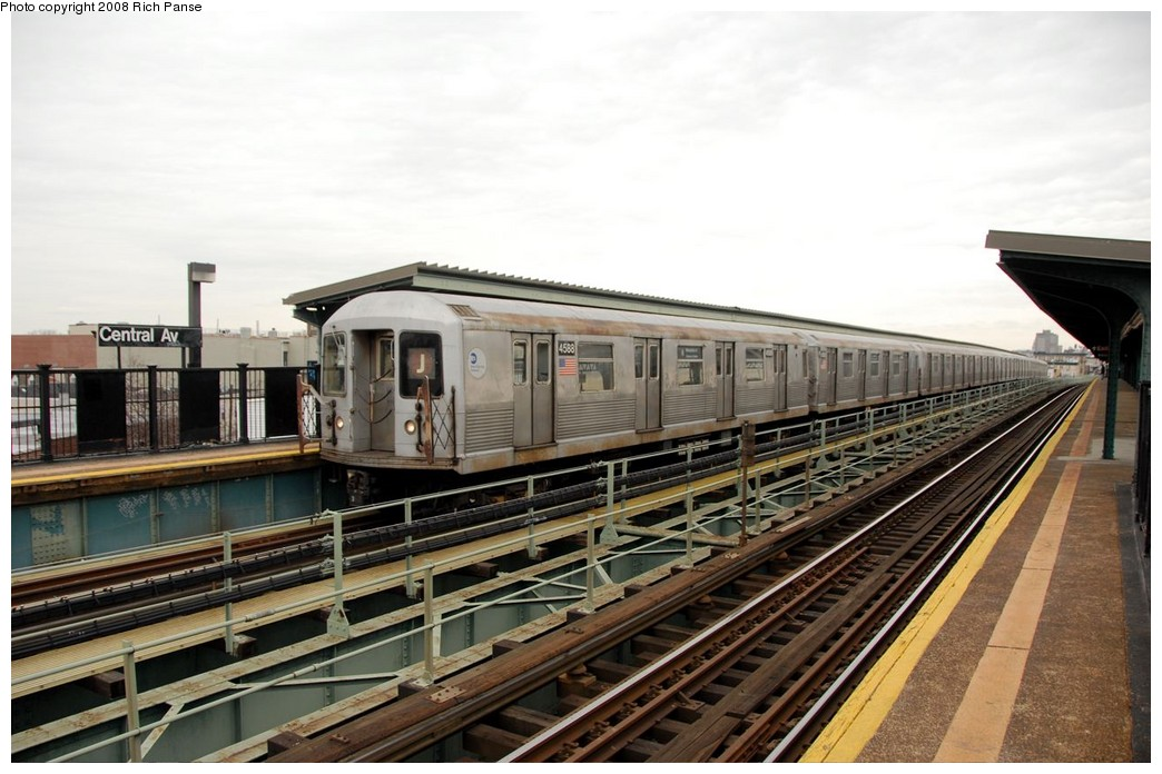 (180k, 1044x696)<br><b>Country:</b> United States<br><b>City:</b> New York<br><b>System:</b> New York City Transit<br><b>Line:</b> BMT Myrtle Avenue Line<br><b>Location:</b> Central Avenue <br><b>Route:</b> J reroute.<br><b>Car:</b> R-42 (St. Louis, 1969-1970)  4588 <br><b>Photo by:</b> Richard Panse<br><b>Date:</b> 2/17/2008<br><b>Viewed (this week/total):</b> 1 / 1096