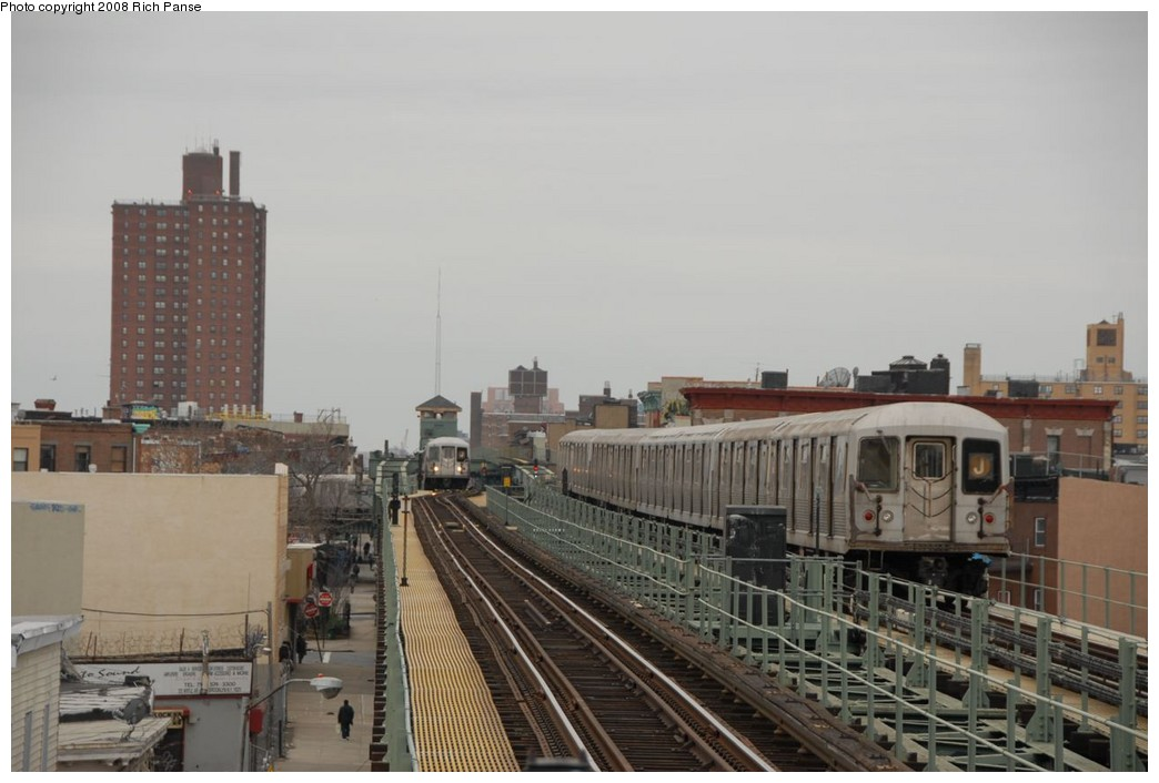 (171k, 1044x706)<br><b>Country:</b> United States<br><b>City:</b> New York<br><b>System:</b> New York City Transit<br><b>Line:</b> BMT Myrtle Avenue Line<br><b>Location:</b> Central Avenue <br><b>Route:</b> J reroute.<br><b>Car:</b> R-42 (St. Louis, 1969-1970)  4572 <br><b>Photo by:</b> Richard Panse<br><b>Date:</b> 2/17/2008<br><b>Viewed (this week/total):</b> 0 / 1219