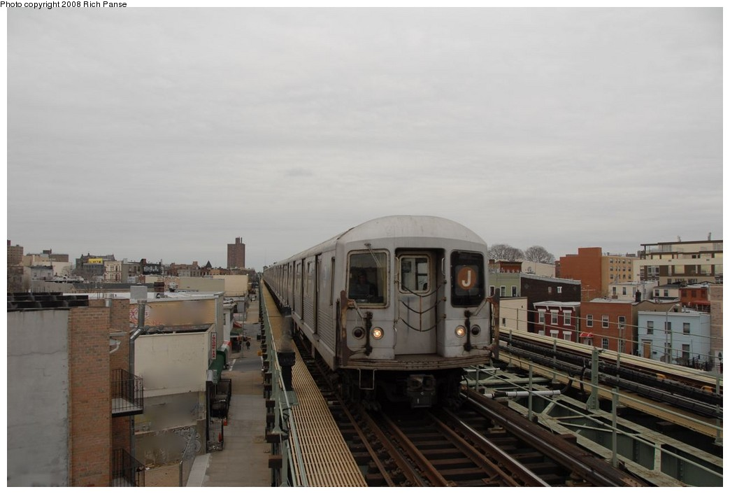(132k, 1044x706)<br><b>Country:</b> United States<br><b>City:</b> New York<br><b>System:</b> New York City Transit<br><b>Line:</b> BMT Myrtle Avenue Line<br><b>Location:</b> Central Avenue <br><b>Route:</b> J reroute.<br><b>Car:</b> R-42 (St. Louis, 1969-1970)   <br><b>Photo by:</b> Richard Panse<br><b>Date:</b> 2/17/2008<br><b>Viewed (this week/total):</b> 1 / 1247