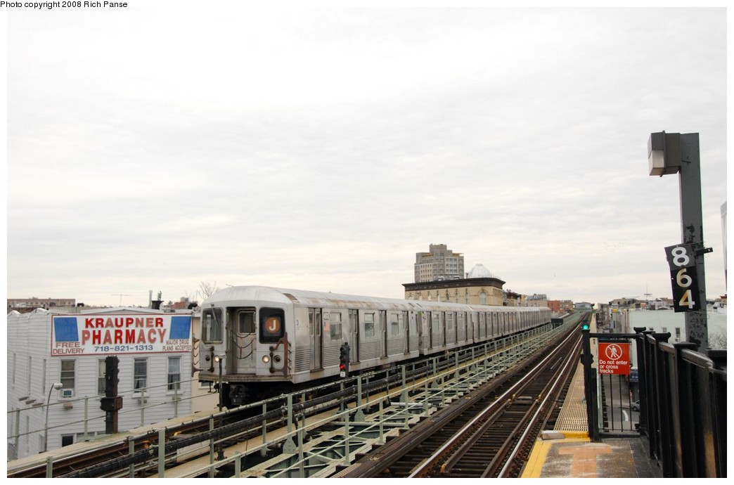 (138k, 1044x690)<br><b>Country:</b> United States<br><b>City:</b> New York<br><b>System:</b> New York City Transit<br><b>Line:</b> BMT Myrtle Avenue Line<br><b>Location:</b> Knickerbocker Avenue <br><b>Route:</b> J reroute.<br><b>Car:</b> R-42 (St. Louis, 1969-1970)  4573 <br><b>Photo by:</b> Richard Panse<br><b>Date:</b> 2/17/2008<br><b>Viewed (this week/total):</b> 4 / 1639
