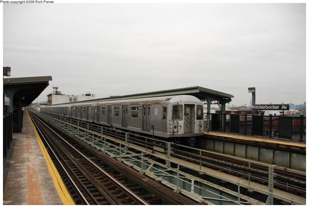(158k, 1044x706)<br><b>Country:</b> United States<br><b>City:</b> New York<br><b>System:</b> New York City Transit<br><b>Line:</b> BMT Myrtle Avenue Line<br><b>Location:</b> Knickerbocker Avenue <br><b>Route:</b> J reroute.<br><b>Car:</b> R-42 (St. Louis, 1969-1970)  4646 <br><b>Photo by:</b> Richard Panse<br><b>Date:</b> 2/17/2008<br><b>Viewed (this week/total):</b> 0 / 984