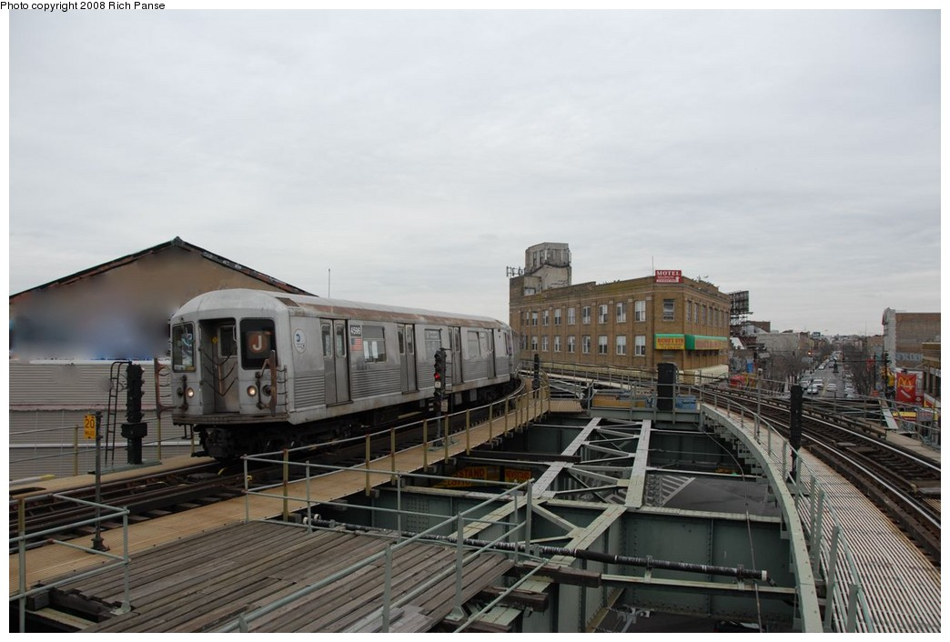(159k, 1044x706)<br><b>Country:</b> United States<br><b>City:</b> New York<br><b>System:</b> New York City Transit<br><b>Line:</b> BMT Myrtle Avenue Line<br><b>Location:</b> Wyckoff Avenue <br><b>Route:</b> J reroute.<br><b>Car:</b> R-42 (St. Louis, 1969-1970)  4596 <br><b>Photo by:</b> Richard Panse<br><b>Date:</b> 2/17/2008<br><b>Viewed (this week/total):</b> 0 / 1096