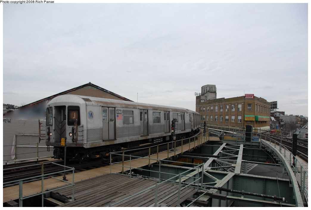 (144k, 1044x706)<br><b>Country:</b> United States<br><b>City:</b> New York<br><b>System:</b> New York City Transit<br><b>Line:</b> BMT Myrtle Avenue Line<br><b>Location:</b> Wyckoff Avenue <br><b>Route:</b> J reroute.<br><b>Car:</b> R-42 (St. Louis, 1969-1970)  4782 <br><b>Photo by:</b> Richard Panse<br><b>Date:</b> 2/17/2008<br><b>Viewed (this week/total):</b> 5 / 1645
