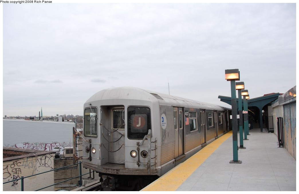 (116k, 1044x678)<br><b>Country:</b> United States<br><b>City:</b> New York<br><b>System:</b> New York City Transit<br><b>Line:</b> BMT Myrtle Avenue Line<br><b>Location:</b> Wyckoff Avenue <br><b>Route:</b> J reroute.<br><b>Car:</b> R-42 (St. Louis, 1969-1970)  4637 <br><b>Photo by:</b> Richard Panse<br><b>Date:</b> 2/17/2008<br><b>Viewed (this week/total):</b> 3 / 850