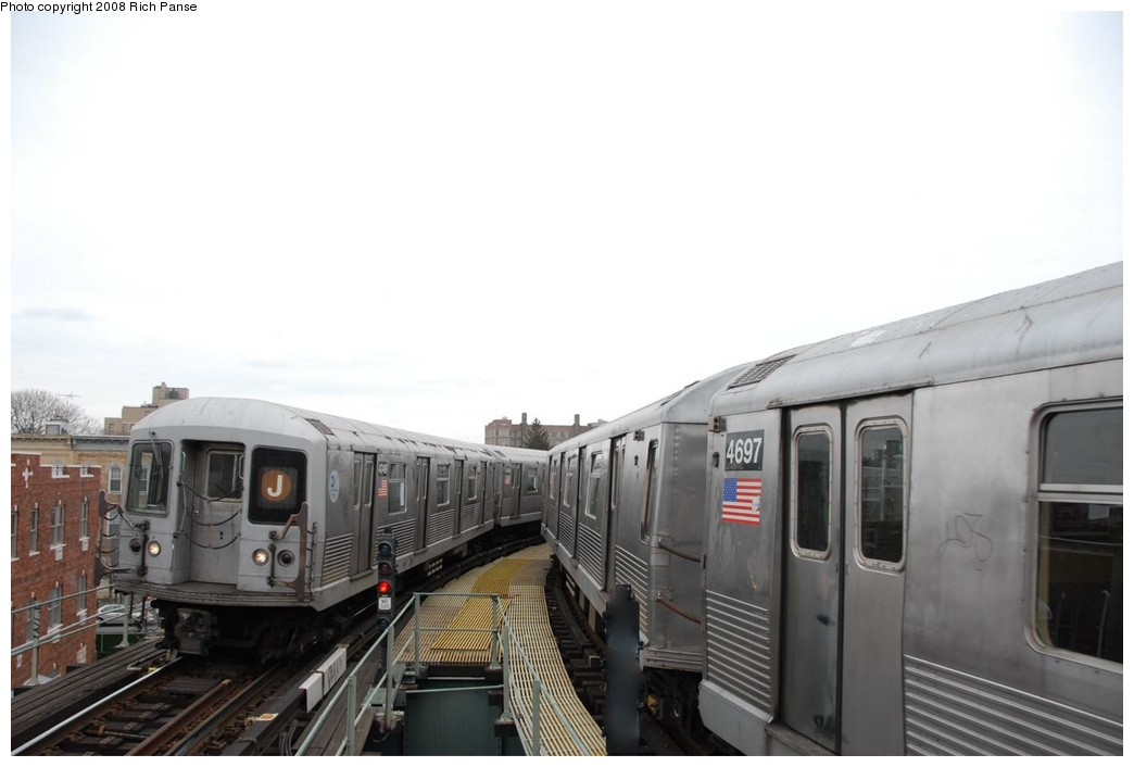 (116k, 1044x706)<br><b>Country:</b> United States<br><b>City:</b> New York<br><b>System:</b> New York City Transit<br><b>Line:</b> BMT Myrtle Avenue Line<br><b>Location:</b> Seneca Avenue <br><b>Route:</b> J reroute.<br><b>Car:</b> R-42 (St. Louis, 1969-1970)  4749/4697 <br><b>Photo by:</b> Richard Panse<br><b>Date:</b> 2/17/2008<br><b>Viewed (this week/total):</b> 2 / 1271