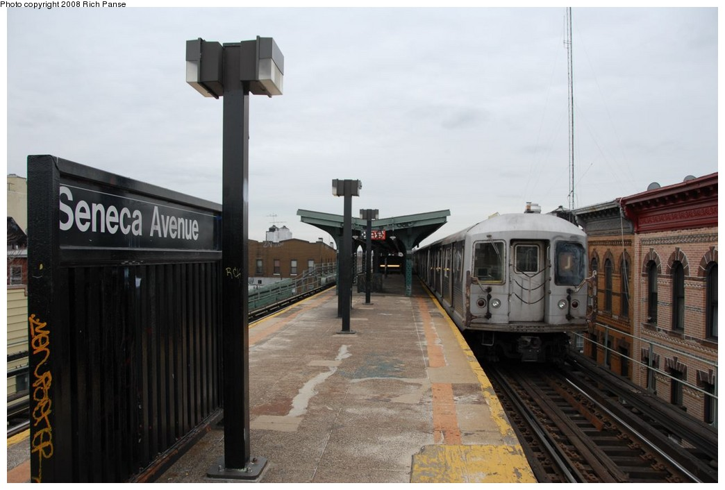 (176k, 1044x706)<br><b>Country:</b> United States<br><b>City:</b> New York<br><b>System:</b> New York City Transit<br><b>Line:</b> BMT Myrtle Avenue Line<br><b>Location:</b> Seneca Avenue <br><b>Route:</b> J reroute.<br><b>Car:</b> R-42 (St. Louis, 1969-1970)  4622 <br><b>Photo by:</b> Richard Panse<br><b>Date:</b> 2/17/2008<br><b>Viewed (this week/total):</b> 1 / 945