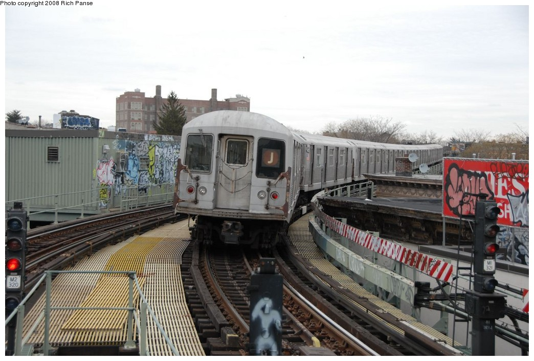 (214k, 1044x706)<br><b>Country:</b> United States<br><b>City:</b> New York<br><b>System:</b> New York City Transit<br><b>Line:</b> BMT Myrtle Avenue Line<br><b>Location:</b> Seneca Avenue <br><b>Route:</b> J reroute.<br><b>Car:</b> R-42 (St. Louis, 1969-1970)  4813 <br><b>Photo by:</b> Richard Panse<br><b>Date:</b> 2/17/2008<br><b>Viewed (this week/total):</b> 0 / 1539