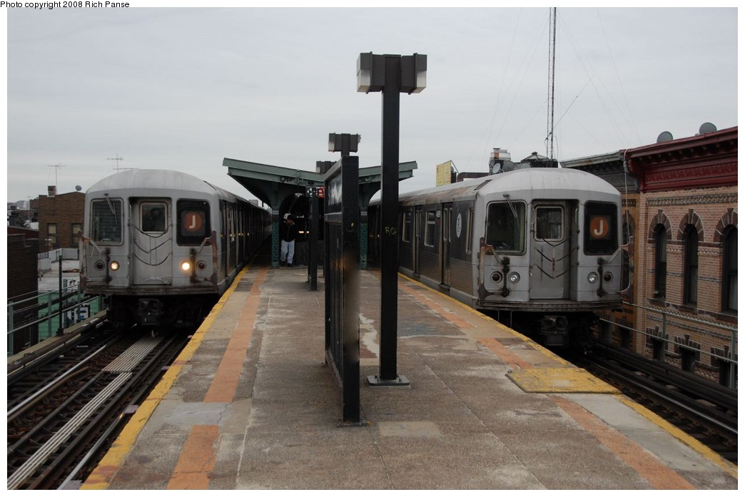 (160k, 1044x697)<br><b>Country:</b> United States<br><b>City:</b> New York<br><b>System:</b> New York City Transit<br><b>Line:</b> BMT Myrtle Avenue Line<br><b>Location:</b> Seneca Avenue <br><b>Route:</b> J reroute.<br><b>Car:</b> R-42 (St. Louis, 1969-1970)  4775/4691 <br><b>Photo by:</b> Richard Panse<br><b>Date:</b> 2/17/2008<br><b>Viewed (this week/total):</b> 0 / 1173