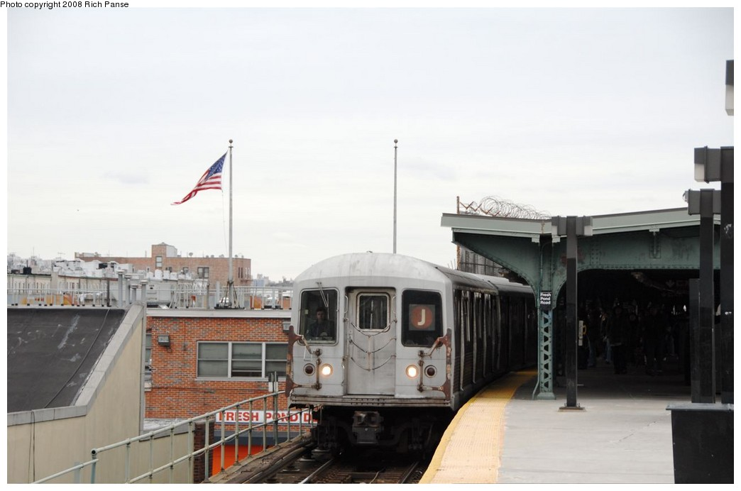 (119k, 1044x692)<br><b>Country:</b> United States<br><b>City:</b> New York<br><b>System:</b> New York City Transit<br><b>Line:</b> BMT Myrtle Avenue Line<br><b>Location:</b> Fresh Pond Road <br><b>Route:</b> J reroute.<br><b>Car:</b> R-42 (St. Louis, 1969-1970)  4666 <br><b>Photo by:</b> Richard Panse<br><b>Date:</b> 2/17/2008<br><b>Viewed (this week/total):</b> 1 / 1117