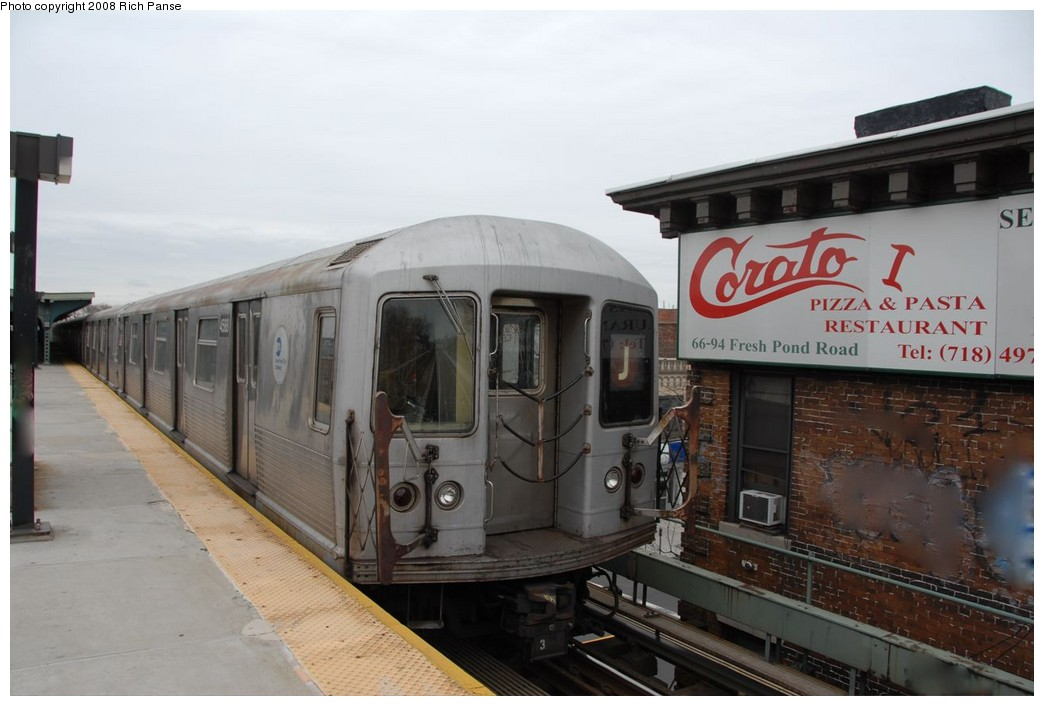 (148k, 1044x706)<br><b>Country:</b> United States<br><b>City:</b> New York<br><b>System:</b> New York City Transit<br><b>Line:</b> BMT Myrtle Avenue Line<br><b>Location:</b> Fresh Pond Road <br><b>Route:</b> J reroute.<br><b>Car:</b> R-42 (St. Louis, 1969-1970)  4588 <br><b>Photo by:</b> Richard Panse<br><b>Date:</b> 2/17/2008<br><b>Viewed (this week/total):</b> 0 / 1021