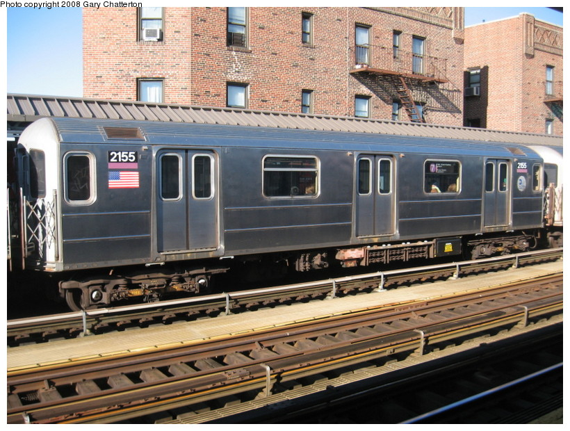 (188k, 820x620)<br><b>Country:</b> United States<br><b>City:</b> New York<br><b>System:</b> New York City Transit<br><b>Line:</b> IRT Flushing Line<br><b>Location:</b> 52nd Street/Lincoln Avenue <br><b>Route:</b> 7<br><b>Car:</b> R-62A (Bombardier, 1984-1987)  2155 <br><b>Photo by:</b> Gary Chatterton<br><b>Date:</b> 2/14/2008<br><b>Viewed (this week/total):</b> 2 / 951