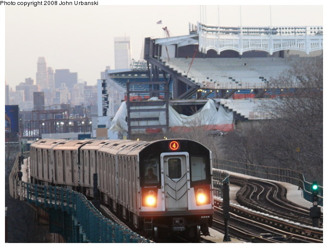 (91k, 660x500)<br><b>Country:</b> United States<br><b>City:</b> New York<br><b>System:</b> New York City Transit<br><b>Line:</b> IRT Woodlawn Line<br><b>Location:</b> 161st Street/River Avenue (Yankee Stadium) <br><b>Route:</b> 4<br><b>Car:</b> R-142 or R-142A (Number Unknown)  <br><b>Photo by:</b> John Urbanski<br><b>Date:</b> 2/19/2008<br><b>Viewed (this week/total):</b> 2 / 2854