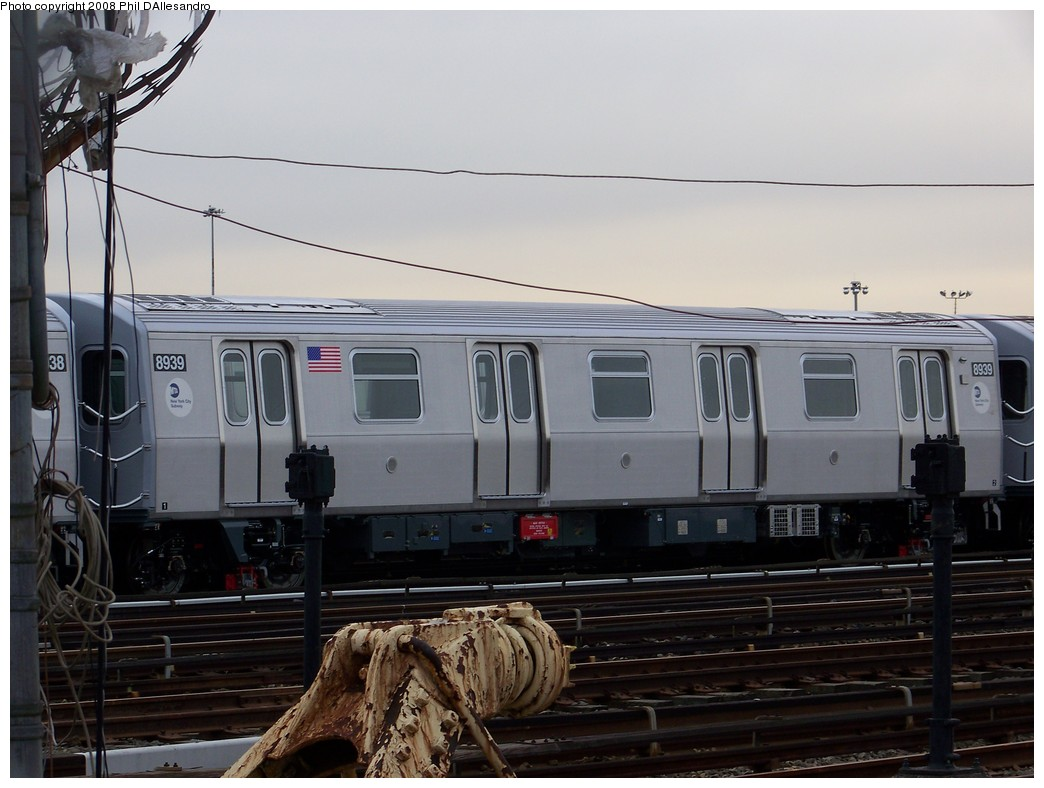 (181k, 1044x788)<br><b>Country:</b> United States<br><b>City:</b> New York<br><b>System:</b> New York City Transit<br><b>Location:</b> Coney Island Yard<br><b>Car:</b> R-160B (Kawasaki, 2005-2008)  8939 <br><b>Photo by:</b> Philip D'Allesandro<br><b>Date:</b> 2/20/2008<br><b>Viewed (this week/total):</b> 0 / 1647