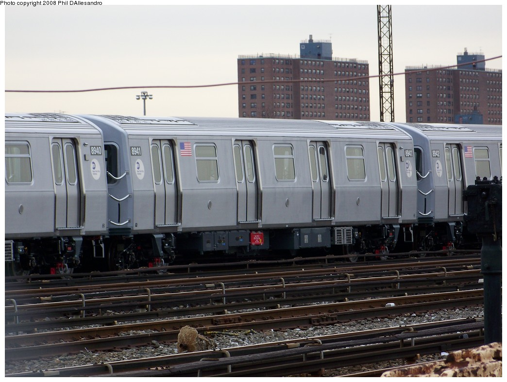 (213k, 1044x788)<br><b>Country:</b> United States<br><b>City:</b> New York<br><b>System:</b> New York City Transit<br><b>Location:</b> Coney Island Yard<br><b>Car:</b> R-160B (Kawasaki, 2005-2008)  8941 <br><b>Photo by:</b> Philip D'Allesandro<br><b>Date:</b> 2/20/2008<br><b>Viewed (this week/total):</b> 2 / 859