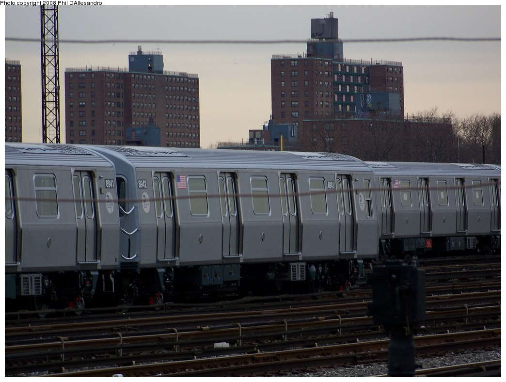(190k, 1044x788)<br><b>Country:</b> United States<br><b>City:</b> New York<br><b>System:</b> New York City Transit<br><b>Location:</b> Coney Island Yard<br><b>Car:</b> R-160B (Kawasaki, 2005-2008)  8942 <br><b>Photo by:</b> Philip D'Allesandro<br><b>Date:</b> 2/20/2008<br><b>Viewed (this week/total):</b> 0 / 1070
