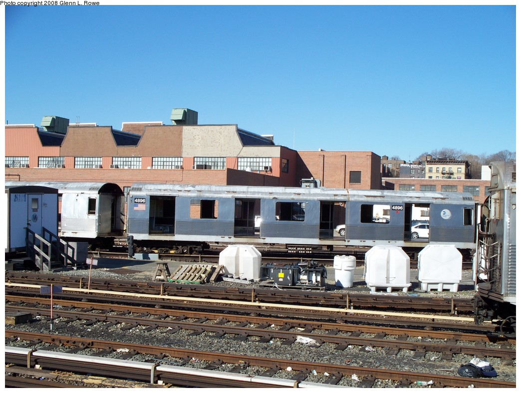 (259k, 1044x788)<br><b>Country:</b> United States<br><b>City:</b> New York<br><b>System:</b> New York City Transit<br><b>Location:</b> 207th Street Yard<br><b>Car:</b> R-42 (St. Louis, 1969-1970)  4896 <br><b>Photo by:</b> Glenn L. Rowe<br><b>Date:</b> 2/21/2008<br><b>Viewed (this week/total):</b> 0 / 1005